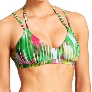 Athleta Wailea Green & Pink Bikini Top Size M